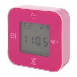 LÖTTORP clock/thermometer/alarm/timer, pink Width: 7 cm Depth: 3 cm Height: 7 cm