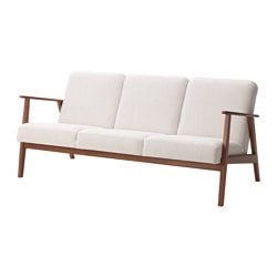 EKENÄSET three-seat sofa, Nolhaga light beige Width: 174 cm Depth: 73 cm Free height under furniture: 28 cm