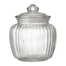 KAPPROCK jar with lid, clear glass Height: 18 cm Volume: 1.4 l