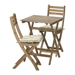 ASKHOLMEN table+2 chairs, outdoor, Särö beige, grey-brown stained