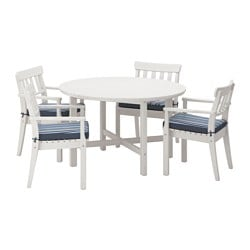 ÄNGSÖ table+4 chairs w armrests, outdoor, Tåsinge blue, white stained