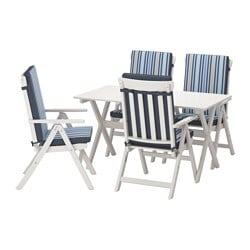 ÄNGSÖ table+4 reclining chairs, outdoor, Tåsinge blue, white stained