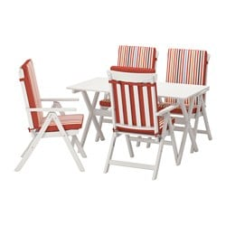 ÄNGSÖ table+4 reclining chairs, outdoor, white stained, Tåsinge red