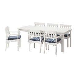 ÄNGSÖ table+6 chairs w armrests, outdoor, Tåsinge blue, white stained