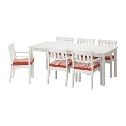 ÄNGSÖ table+6 chairs w armrests, outdoor, Tåsinge red, white stained