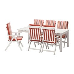 ÄNGSÖ table+6 reclining chairs, outdoor, white stained, Tåsinge red