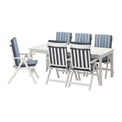 ÄNGSÖ table+6 reclining chairs, outdoor, Tåsinge blue, white stained