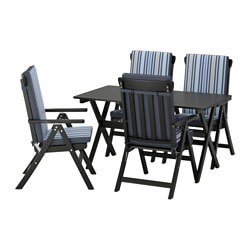 ÄNGSÖ table+4 reclining chairs, outdoor, Tåsinge blue, black stained