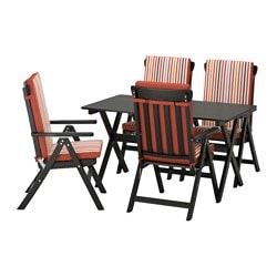 ÄNGSÖ table+4 reclining chairs, outdoor, Tåsinge red, black stained