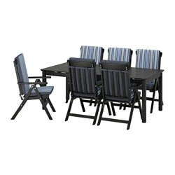 ÄNGSÖ table+6 reclining chairs, outdoor, black-brown stained, Tåsinge blue