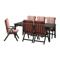 ÄNGSÖ table+6 reclining chairs, outdoor, Tåsinge red, black stained