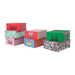 "GLÖDANDE box with lid, assorted patterns Width: 17 "" Depth: 21 ¾ "" Height: 8 ¼ "" Width: 43 cm Depth: 55 cm Height: 21 cm"