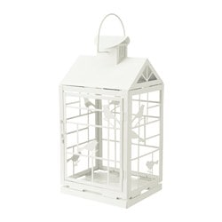 "RAPPT lantern for block candle, indoor/outdoor white Height: 18 "" Height: 46 cm"
