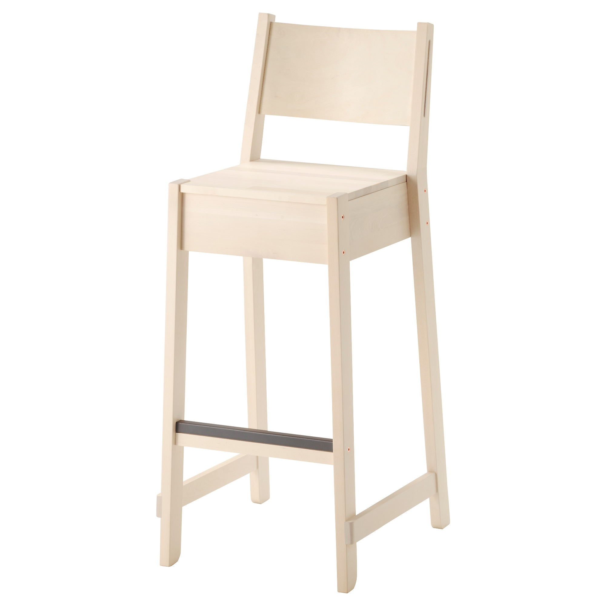 NORRKER bar stool with backrest, white birch Tested for: 265 lb Width: 16