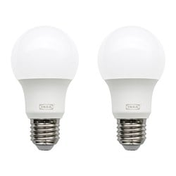 RYET LED bulb E27 600 lumen, globe opal white Luminous flux: 600 lm Power: 7.5 W Package quantity: 2 pack