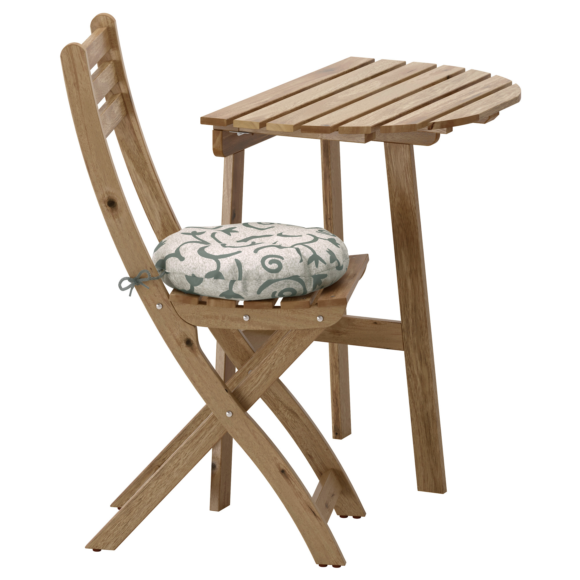 Wood folding chair outdoor - Askholmen Wall Table Folding Chair Outdoor Gray Brown Stained Steg N Beige