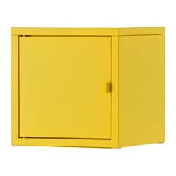 "LIXHULT cabinet, yellow, metal Width: 9 7/8 "" Depth: 9 7/8 "" Height: 9 7/8 "" Width: 25 cm Depth: 25 cm Height: 25 cm"