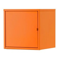 LIXHULT cabinet, metal, orange Height without legs: 35 cm Width: 35 cm Depth: 35 cm