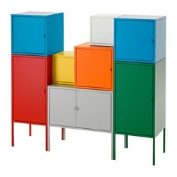 LIXHULT storage combination, white/green/blue/yellow, red/orange/grey Width: 130 cm Depth: 35 cm Height: 117 cm