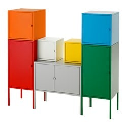 "LIXHULT storage combination, white/green/blue/yellow, red/orange/gray Width: 51 1/8 "" Depth: 13 3/4 "" Height: 46 1/8 "" Width: 130 cm Depth: 35 cm Height: 117 cm"