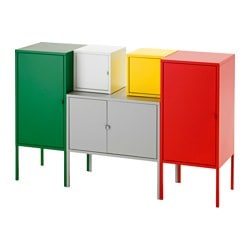 LIXHULT storage combination, yellow/green/grey, white/red Width: 130 cm Depth: 35 cm Height: 82 cm