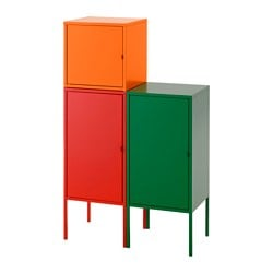 LIXHULT storage combination, red/orange, green Width: 70 cm Depth: 35 cm Height: 117 cm