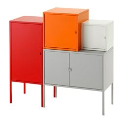 LIXHULT storage combination, grey/white, orange/red