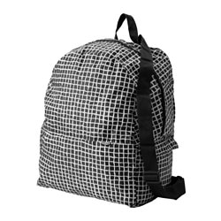 "KNALLA backpack, black, white Length: 13 3/4 "" Depth: 7 7/8 "" Height: 17 3/4 "" Length: 35 cm Depth: 20 cm Height: 45 cm"