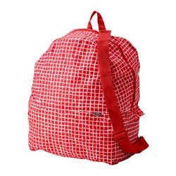 "KNALLA backpack, red/white Length: 13 3/4 "" Depth: 7 7/8 "" Height: 17 3/4 "" Length: 35 cm Depth: 20 cm Height: 45 cm"