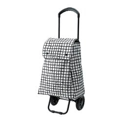 "KNALLA shopping bag with wheels, white, black Length: 16 1/8 "" Depth: 9 ¾ "" Height: 20 "" Length: 41 cm Depth: 25 cm Height: 51 cm"