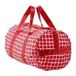 "KNALLA sports bag, red/white Length: 21 ¼ "" Diameter: 12 5/8 "" Volume: 1353 oz Length: 54 cm Diameter: 32 cm Volume: 40 l"