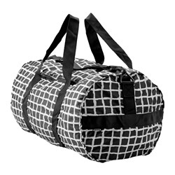 "KNALLA sports bag, black, white Length: 21 ¼ "" Diameter: 12 5/8 "" Volume: 1353 oz Length: 54 cm Diameter: 32 cm Volume: 40 l"