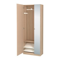 PAX wardrobe, white stained oak effect, Nexus Vikedal Width: 75.0 cm Depth: 38.0 cm Height: 201.2 cm