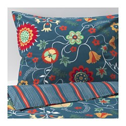ROSENRIPS quilt cover and 2 pillowcases, blue patterned