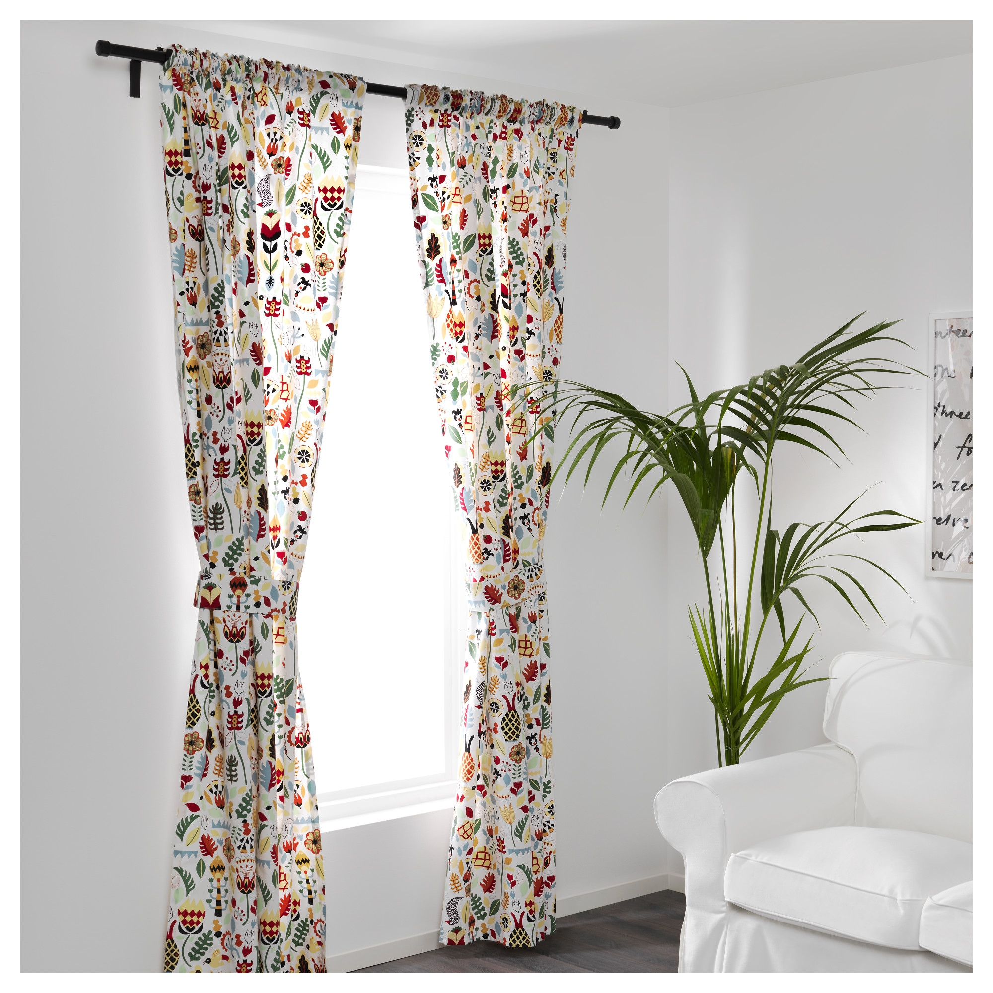 RÖDARV Curtains with tie-backs, 1 pair - IKEA