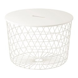 KVISTBRO storage table, white Diameter: 61 cm Height: 42 cm