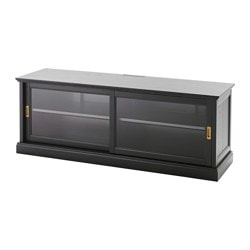 MALSJÖ TV bench with sliding doors, black stained