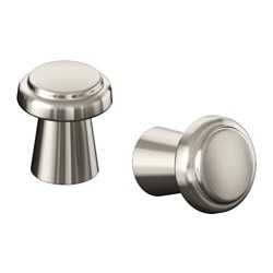 VARNHEM knob, stainless steel colour Height: 28 mm Diameter: 25 mm Drilled hole diameter: 5 mm