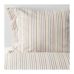 RAJGRÄS quilt cover and 4 pillowcases, striped Thread count: 170 /inch² Pillowcase quantity: 4 pack Quilt cover length: 200 cm