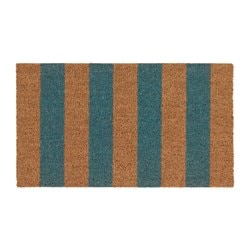 "KVORING door mat, natural, turquoise Length: 2 ' 4 "" Width: 1 ' 4 "" Area: 3.01 sq feet Length: 70 cm Width: 40 cm Area: 0.28 m²"