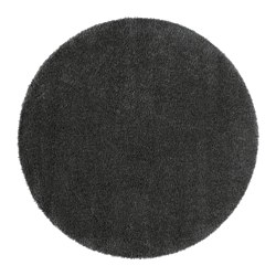 "ÅDUM rug, high pile, dark gray Diameter: 4 ' 3 "" Thickness: ¾ "" Area: 14.32 sq feet Diameter: 130 cm Thickness: 18 mm Area: 1.33 m²"