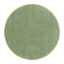 "ÅDUM rug, high pile, light green Diameter: 4 ' 3 "" Thickness: ¾ "" Area: 14.32 sq feet Diameter: 130 cm Thickness: 18 mm Area: 1.33 m²"