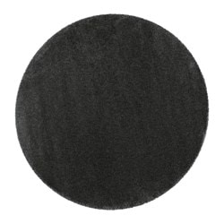 "ÅDUM rug, high pile, dark gray Diameter: 6 ' 5 "" Thickness: ¾ "" Area: 32.18 sq feet Diameter: 195 cm Thickness: 18 mm Area: 2.99 m²"