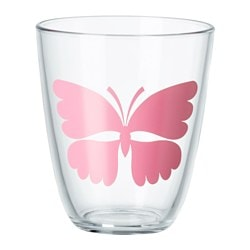 POPPIG glass, butterfly, pink Height: 10 cm Volume: 23 cl