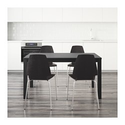 "BJURSTA /  VILMAR table and 4 chairs, brown-black Length: 70 7/8 "" Min. length: 55 1/8 "" Max. length: 86 5/8 "" Length: 180 cm Min. length: 140 cm Max. length: 220 cm"