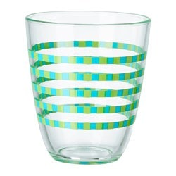POPPIG glass, striped green, blue Height: 10 cm Volume: 23 cl