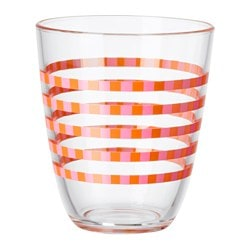 POPPIG glass, striped orange, pink Height: 10 cm Volume: 23 cl
