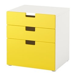 STUVA chest of 3 drawers, yellow Width: 60 cm Depth: 50 cm Height: 64 cm