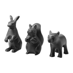 RÖRD decoration set of 3, animal, black