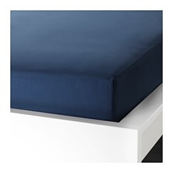 ULLVIDE fitted sheet, dark blue Thread count: 200 /inch² Length: 189 cm Width: 92 cm